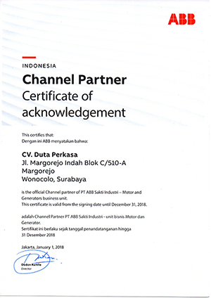 ABB Channel Partner Certificate of Acknowledgement