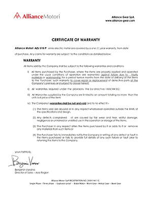 Alliance Motori Warranty Certificate Type AZJ818 P