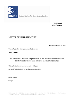 HMSA Letter of Authorisation