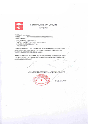 Jiamusi ROTOR Explotion Proof Motor Certificate Of Origin