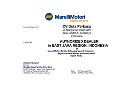 Marelli Motori Authorized Dealer Certificate